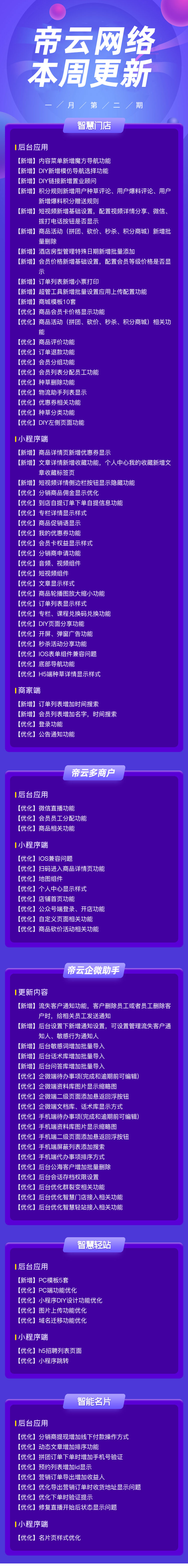 帝云商城系统2021年1月第二期更新内容